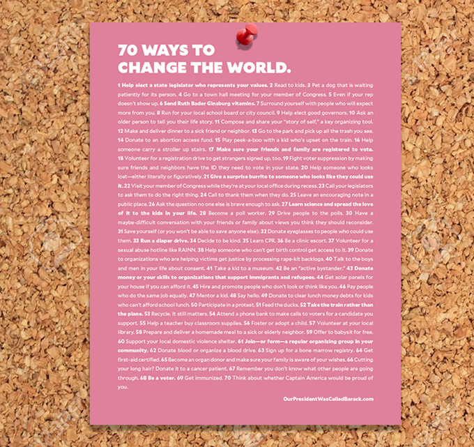 "70 ways to change the world: Printable PDF poster with your support of the new ""Our President Was Called Barack"" children's book on Kickstarter"