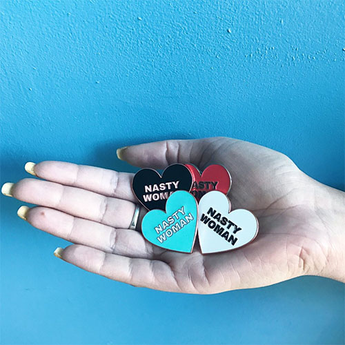 Cool feminist gifts: Nasty woman enamel pins supporting Planned Parenthood