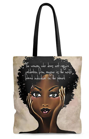 Cool feminist gifts supporting women-owned shops: No validation required tote by Sugar Lump Creations