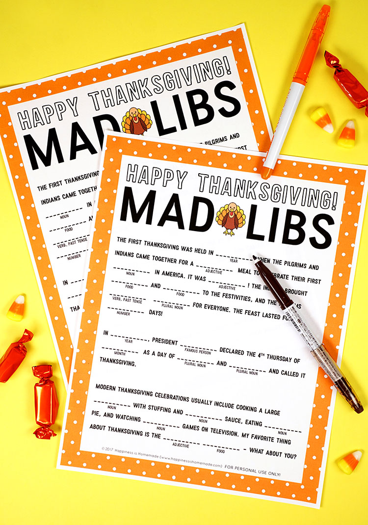 Thanksgiving activity printables: Thanksgiving Mad Libs Printable | Happiness is Homemade