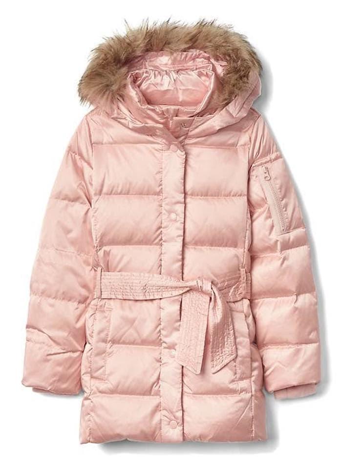 Warmest kids' winter coats: Down Tie-Belt Puffer Parka by Gap