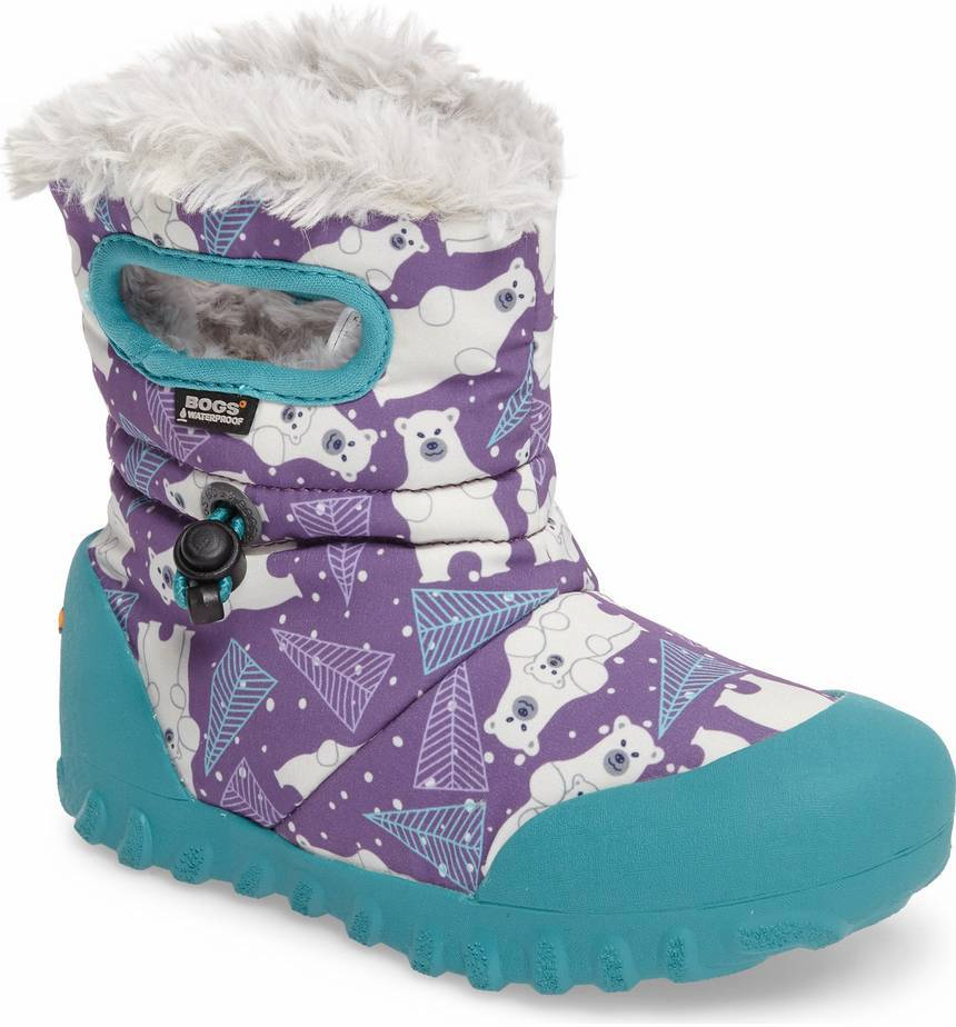 Colorful snow boots for kids: Polar bear print by BOGS