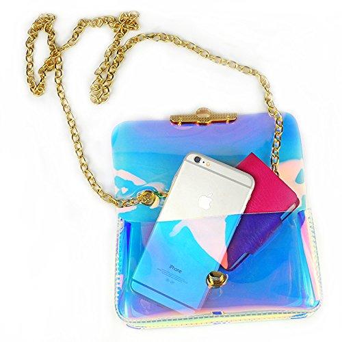 Cool pop bags for girls: Clear hologram sling bag