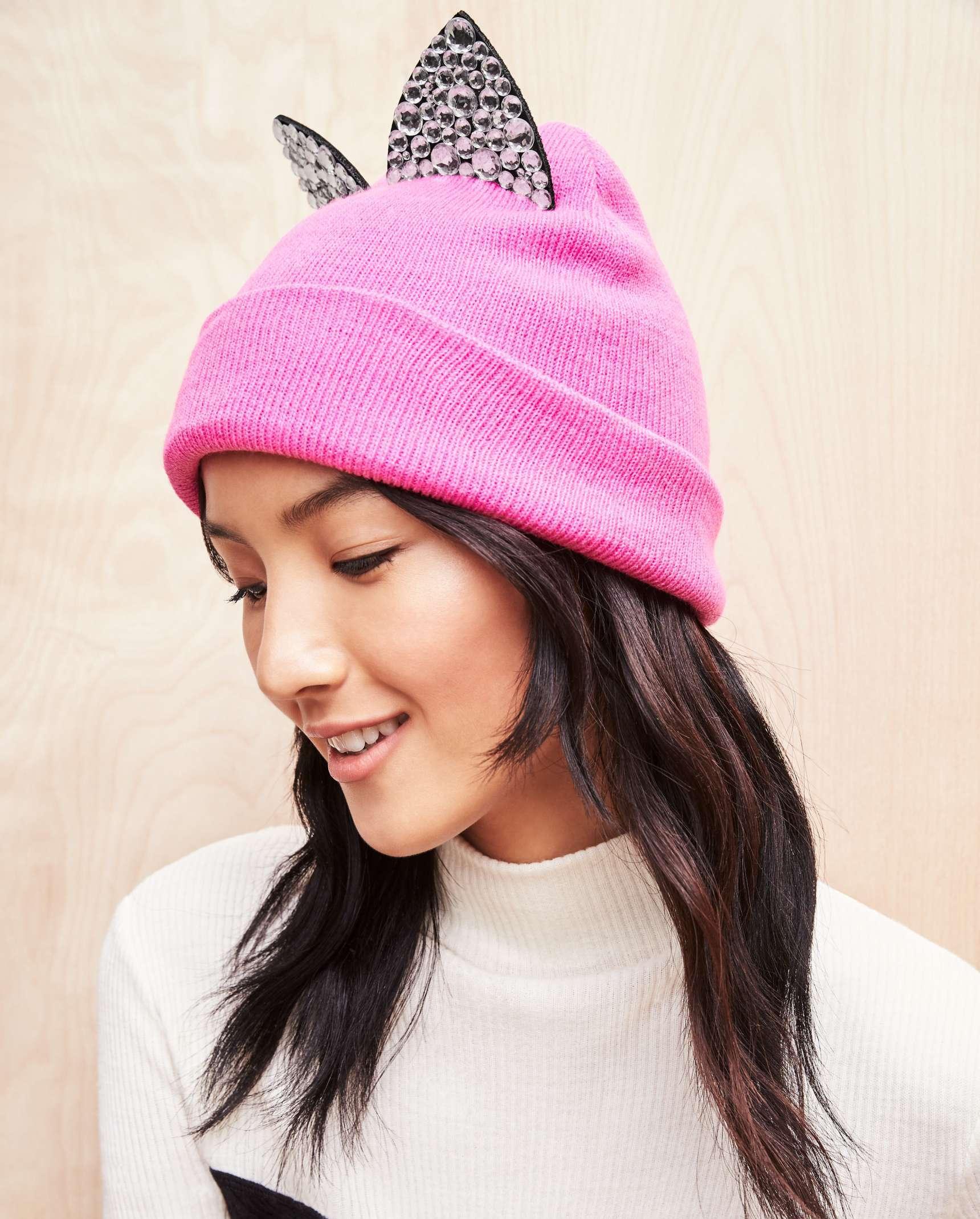 Jeweled cat-ear beanie : Glam gifts for a female BFF