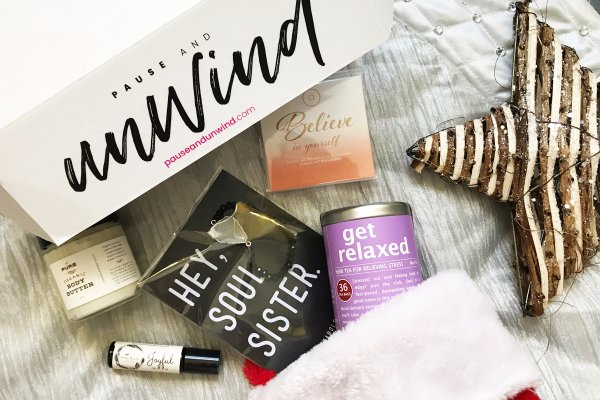 Pause and Unwind gift set filled entirely with products from women-owned companies: Self-care gifts