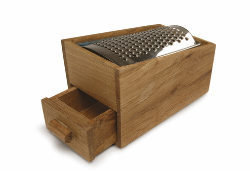sagamore oak and stainleess steel cheese grater box