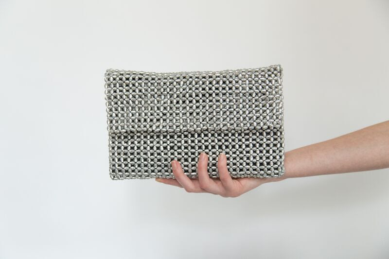 Silver beaded clutch bag from to the market