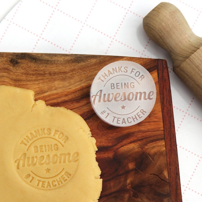 Holiday gift idea for teachers: Cookies stamped with The Cookie Stamp Co.'s Teacher Thank-You Stamp