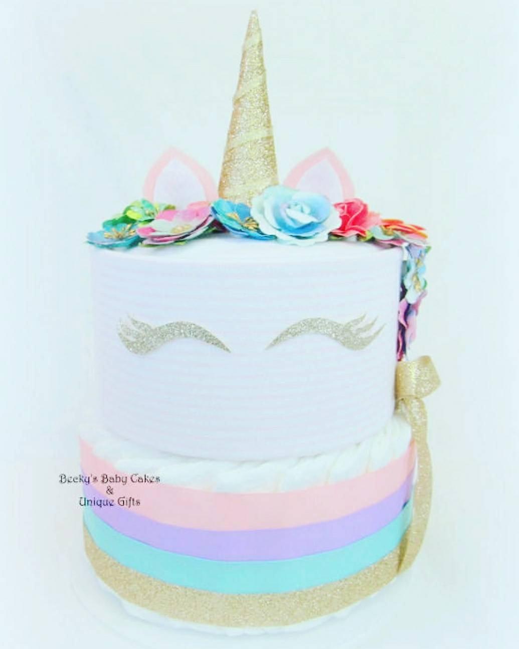 Cool diaper cakes: Unicorn diaper cake | Becky's Baby Cakes