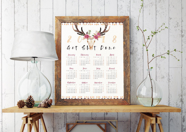 2018 printable calendars: Printable Watercolor Calendar by Design Your Love