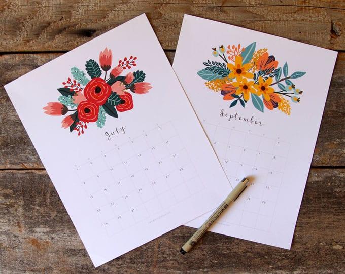 2018 printable calendars: Floral Calendar by A Piece of Rainbow