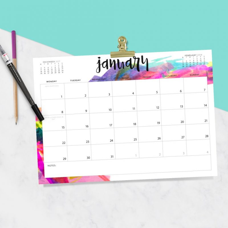 2018 printable calendars: Free Printable Calendar by Oh So Lovely