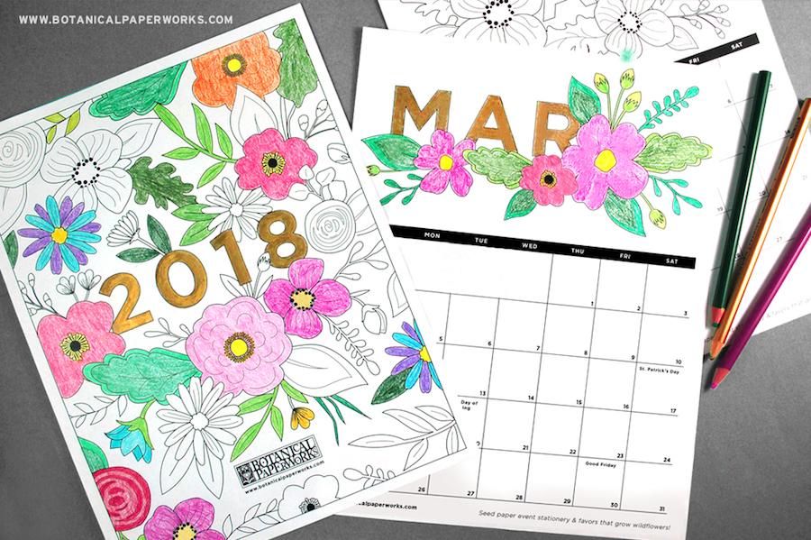 2018 printable calendars: Coloring Book Calendar by Botanical Paperworks