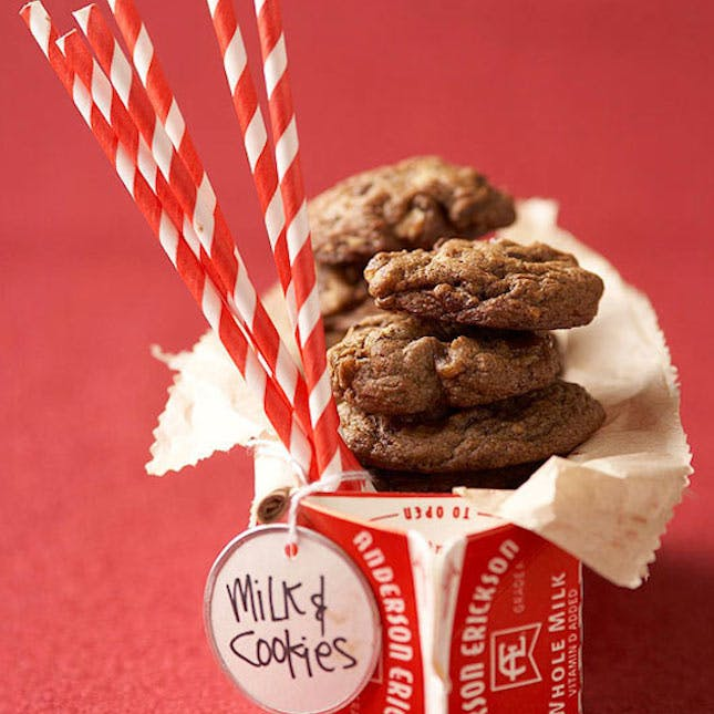 How to make gift cards more special: Re-purpose a paper milk carton with cookies and a gift card like this one from BHG.