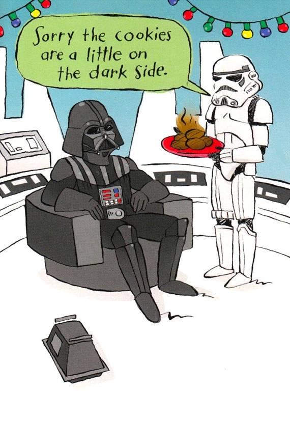 Funny Star Wars Christmas card - dark side cookie! (We're lol'ing)