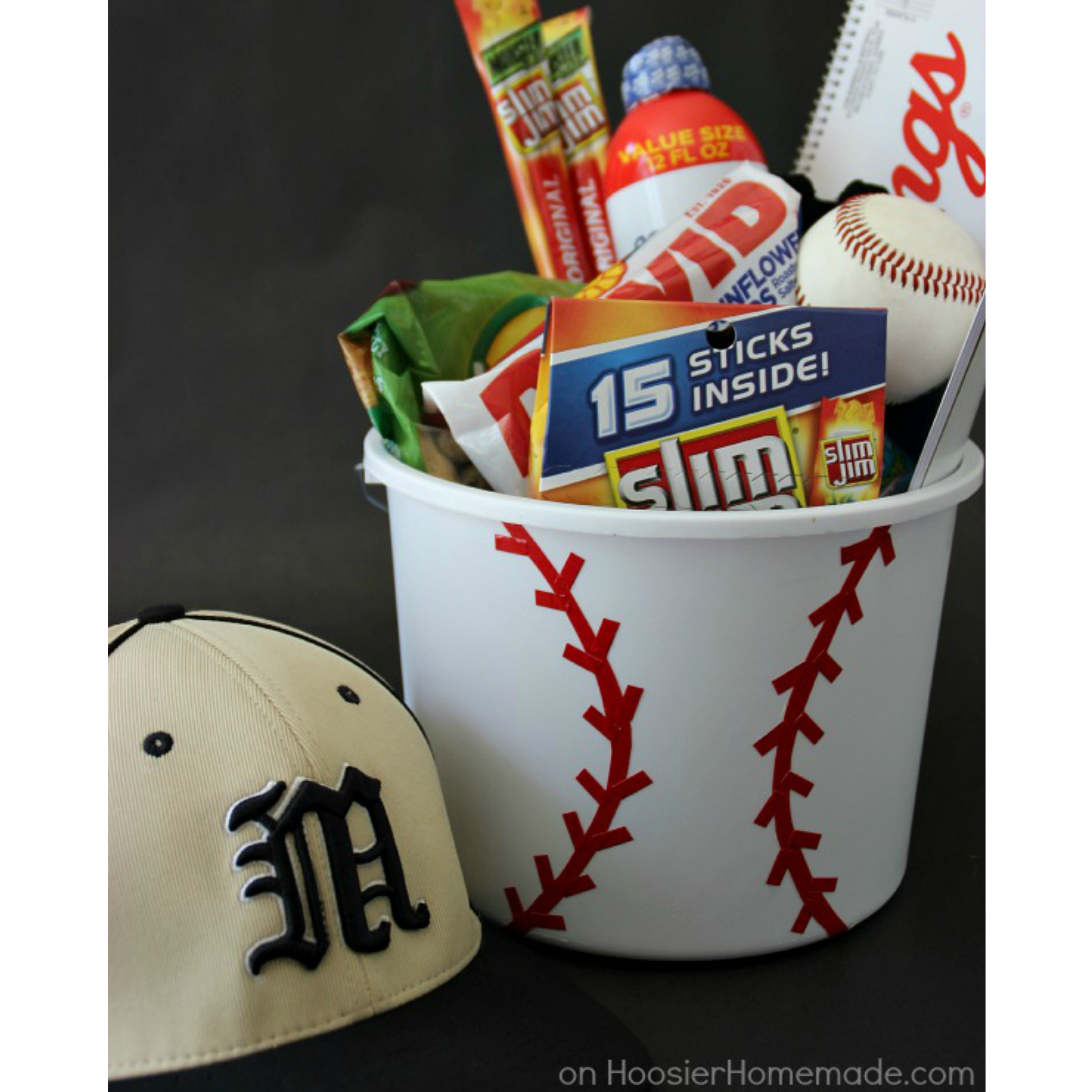 How to make gift cards more special: Create a DIY sports themed gift card bucket like this one from Hoosier Homemade.