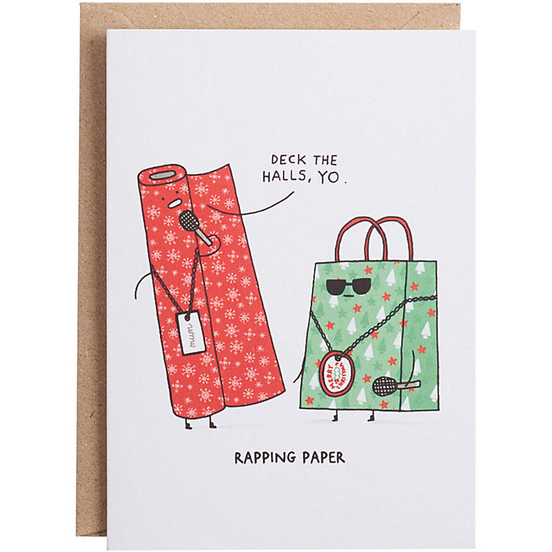 Funniest holiday cards | rapping paper holiday cards from paper source