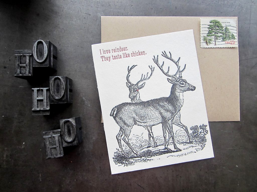 Reindeer taste like chicken: Funniest Christmas cards (but probably not for vegetarian friends)