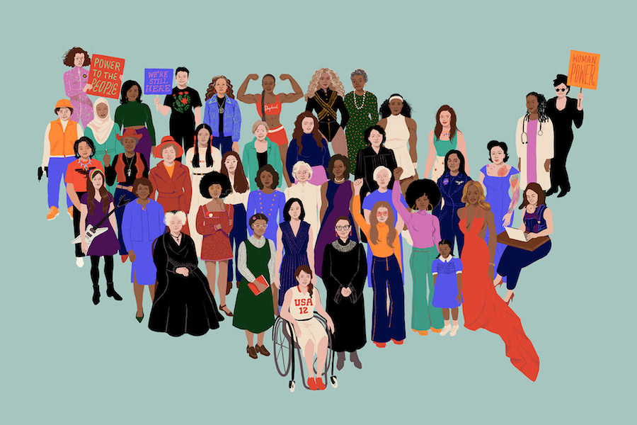 Artist Shyama Golden's print or shareable digital image honors the Women's March with a design honoring dozens of American women whose shoulders we stand on | Cool Mom Picks