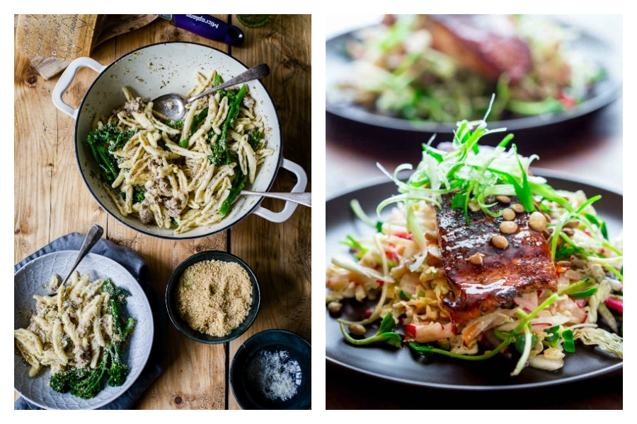 Cool Mom Eats weekly meal plan: 5 easy, family friendly recipes for the week ahead including Sausage and Broccoli Pasta at Vinkalinka and Spiced Chicken with Olives and Lemon at Weelicious