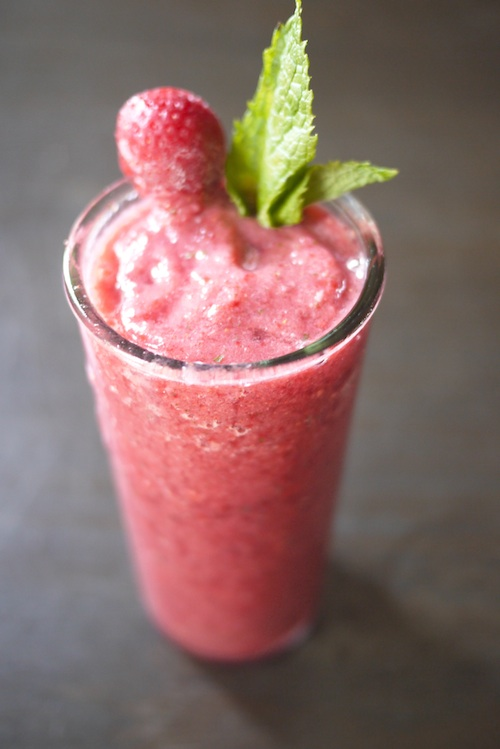 Summer smoothie recipes: Strawberry mint lychee from One Hungry Mama