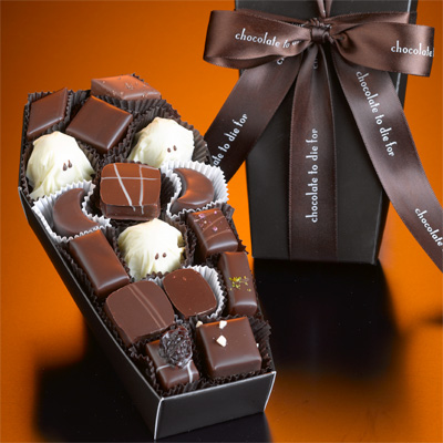 Crack open a coffin of gourmet Halloween chocolates. This one's just for the grown-ups.