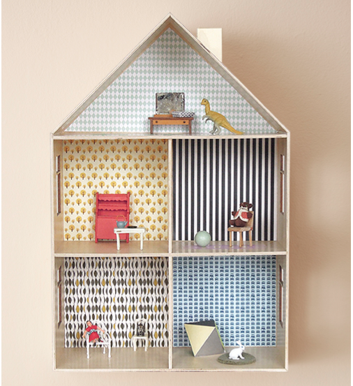 This Diy Dollhouse Delights With Free Wallpaper Designs