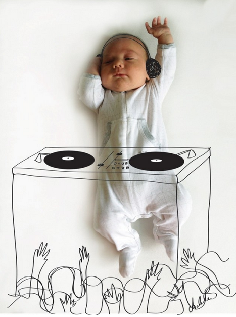 Creative birth announcement photo ideas | Adele Enerson art doodles