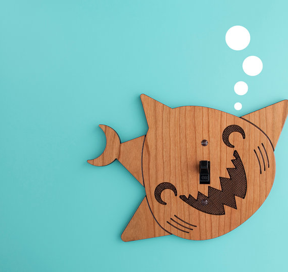 Mr. Sharky says lights out: switchplate covers with big personality