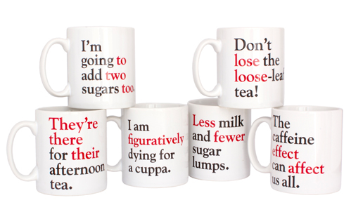 Funny coffee mugs:  Grammar Grumble mugs from Literary Gift Company