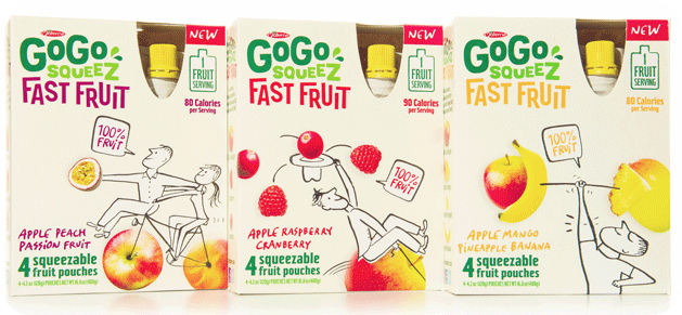 Fast Fruit for grownups on the GoGo. (Yes, squeeze packs for grownups!)