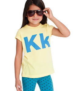 A cool new twist on the old number and letter kids' shirts