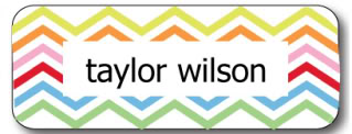 Kids' name labels get the chevron touch