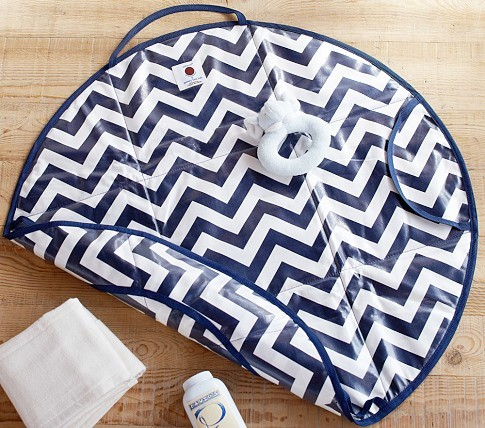 A Changing Pad And Chic Chevron Diaper Bag In One
