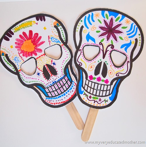 Smiling (not scary!) printable skull masks to celebrate the Day of the Dead