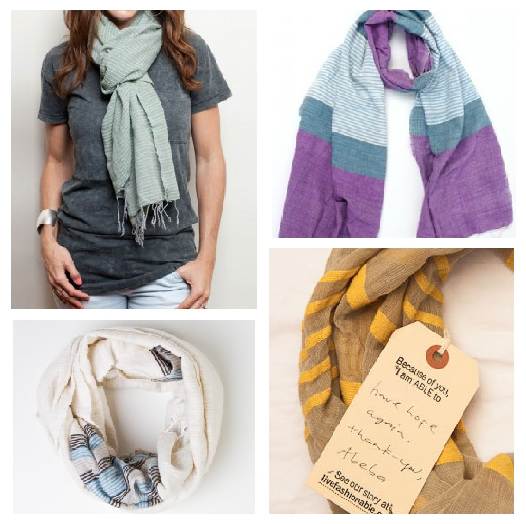 Fashionable scarves. With an emphasis on -able.