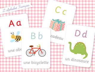 Free printable French alphabet flashcards, from abeille to zèbre
