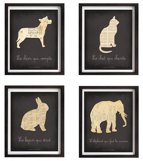Whimsical animal prints served à la française