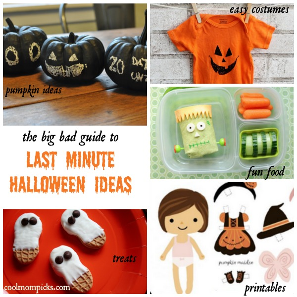 The ultimate last-minute Halloween idea guide for parents: costumes, treats, pumpkins, printables and more.