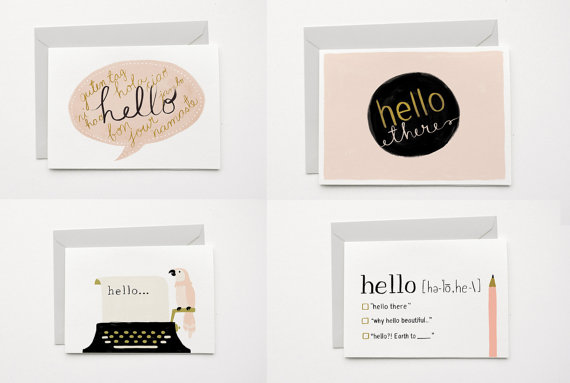 Well, hello! Simple stationery for those just-because notes.
