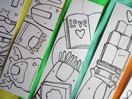 Kids bookmarks that get them drawing as well as reading