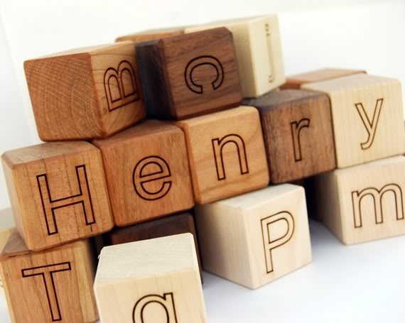 Personalized alphabet blocks help you spell BEST BABY GIFT EVER