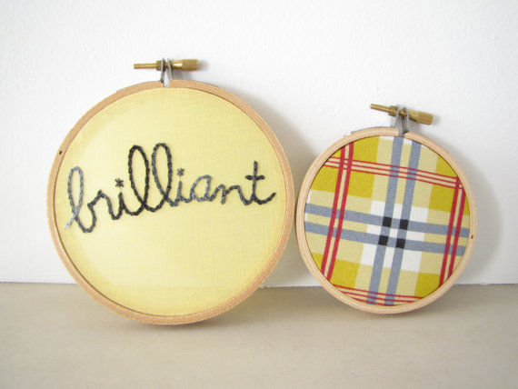 Embroidery hoop art for your kids' walls to inspire. Both of you.