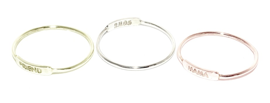 Tiny personalized nameplate rings from Julian & Co: proving good things really do come in small packages