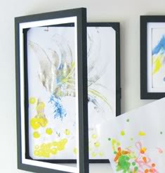 Storing the kids' artwork in plain view.