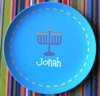 Personalized Hanukkah plates knock one of those eight gifts off your list
