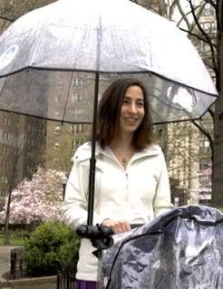 My Blue Bumbershoot – Never again be soggy behind the stroller