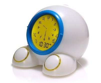"A teaching clock that also teaches kids ""Go away. Mommy's sleeping."""