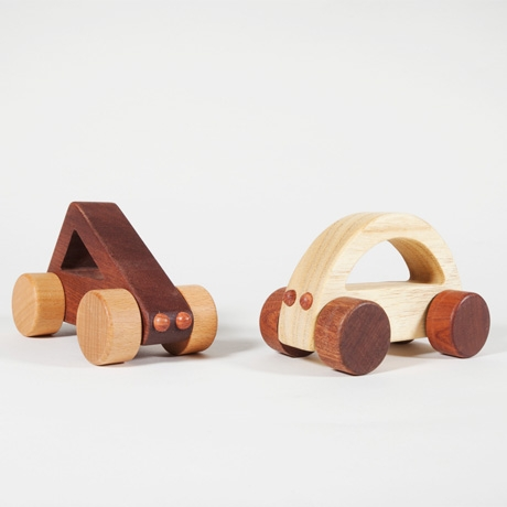 Gorgeous wooden cars babies can drive. And chew.