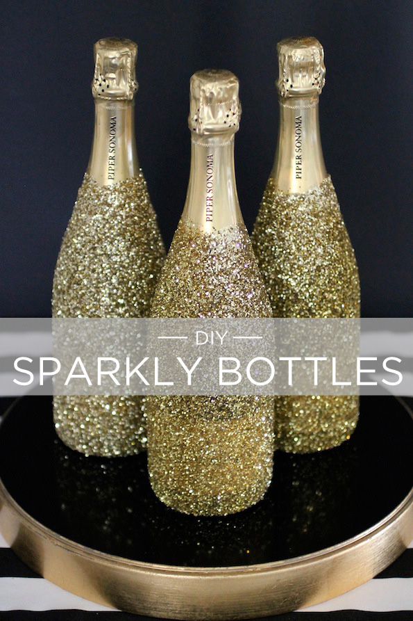 Last minute Valentine's Day gifts: DIY gold sparkle bottles via the evite blog